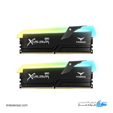 رم دسکتاپ DDR4 دو کاناله تیم گروپ 3200 مگاهرتز 16 گیگابایت مدل XCALIBUR RGB